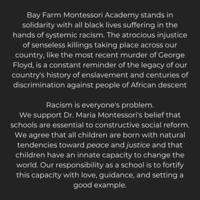 Bay Farm Montessori Academy Stands in Solidarity